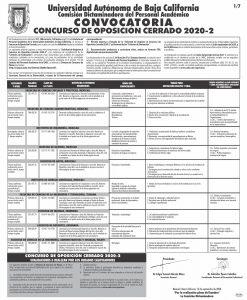 CONVOCATORIA CONCURSO DE OPOSICIÓN CERRADO 2020-2