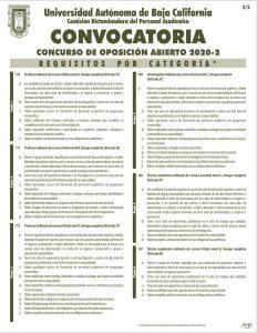 CONVOCATORIA CONCURSO DE OPOSICIÓN ABIERTO 2020-2