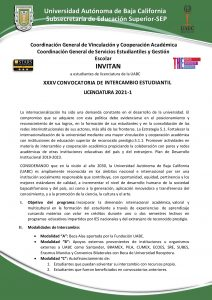 XXXV CONVOCATORIA DE INTERCAMBIO ESTUDIANTIL LICENCIATURA 2021-1