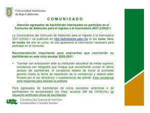 Atento Comunicado para la Convocatoria del Concurso de Selección para el ingreso a la licenciatura 2021-2/2022-1
