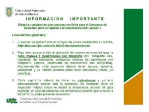 Lineamientos generales – Concurso de selección para el ingreso a licenciatura 2021-2/2022-1