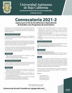 Convocatoria para el Ingreso por la Vía de Acreditación o Equivalencia de Estudios a los Programas de Licenciatura 2021-2
