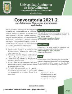 Convocatoria 2021-2 para Reingreso de Alumnos que Interrumpieron sus Estudios