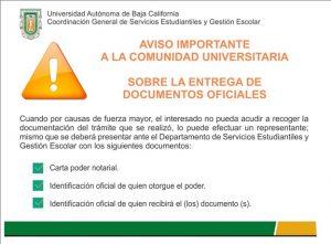 Aviso importante a la comunidad Universitaria sobre la entrega de documentos oficiales