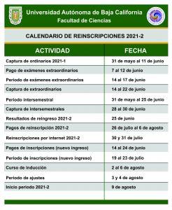 CALENDARIO DE ACTIVIDADES 2021-2