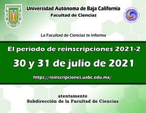 Periodo de reinscripción por internet del periodo 2021-2