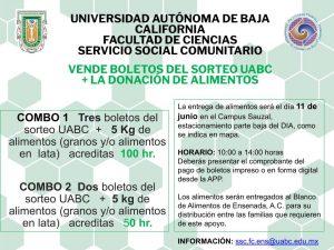 VENDE BOLETOS DEL SORTEO UABC + LA DONACIÓN DE ALIMENTOS