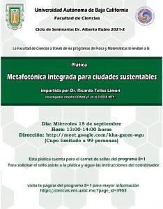 Seminario Dr. Alberto Rubio que presenta la charla: Metafotónica integrada para ciudades sustentables