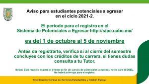 Aviso para estudiantes potenciales a egresar en el ciclo 2021-2