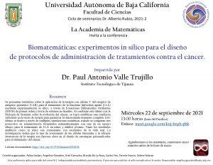Seminario: Biomatemáticas: experimentos in silico para el diseño de protocolos de administración de tratamientos contra el cáncer