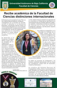 Recibe académica de la Facultad de Ciencias distinciones internacionales