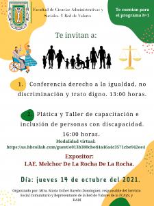 Invitación a conferencias sobre inclusión, igualdad, no discriminación y trato digno