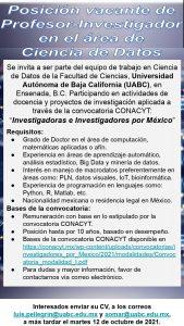 Se invita a participar en la convocatoria Investigadoras e Investigadores por México 2021