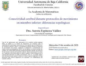 La Academia de Matemáticas invita al seminario: Conectividad cerebral durante protocolos de movimiento en miembro inferior: diferencias topológicas